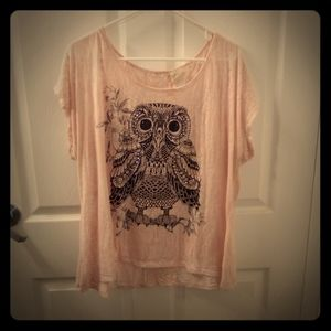 Pink Sheer Owl Top